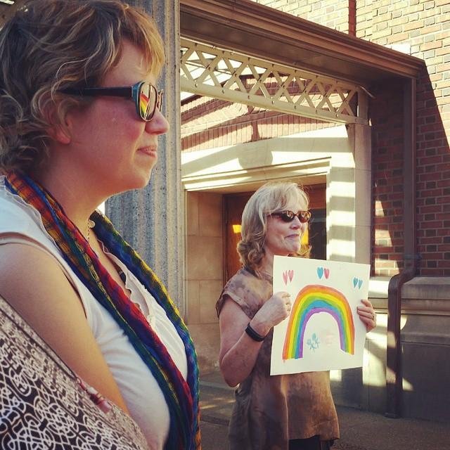 tacomarainbowcenter Executive Director Michelle Douglas looks on as Laurie Jinkinshellip